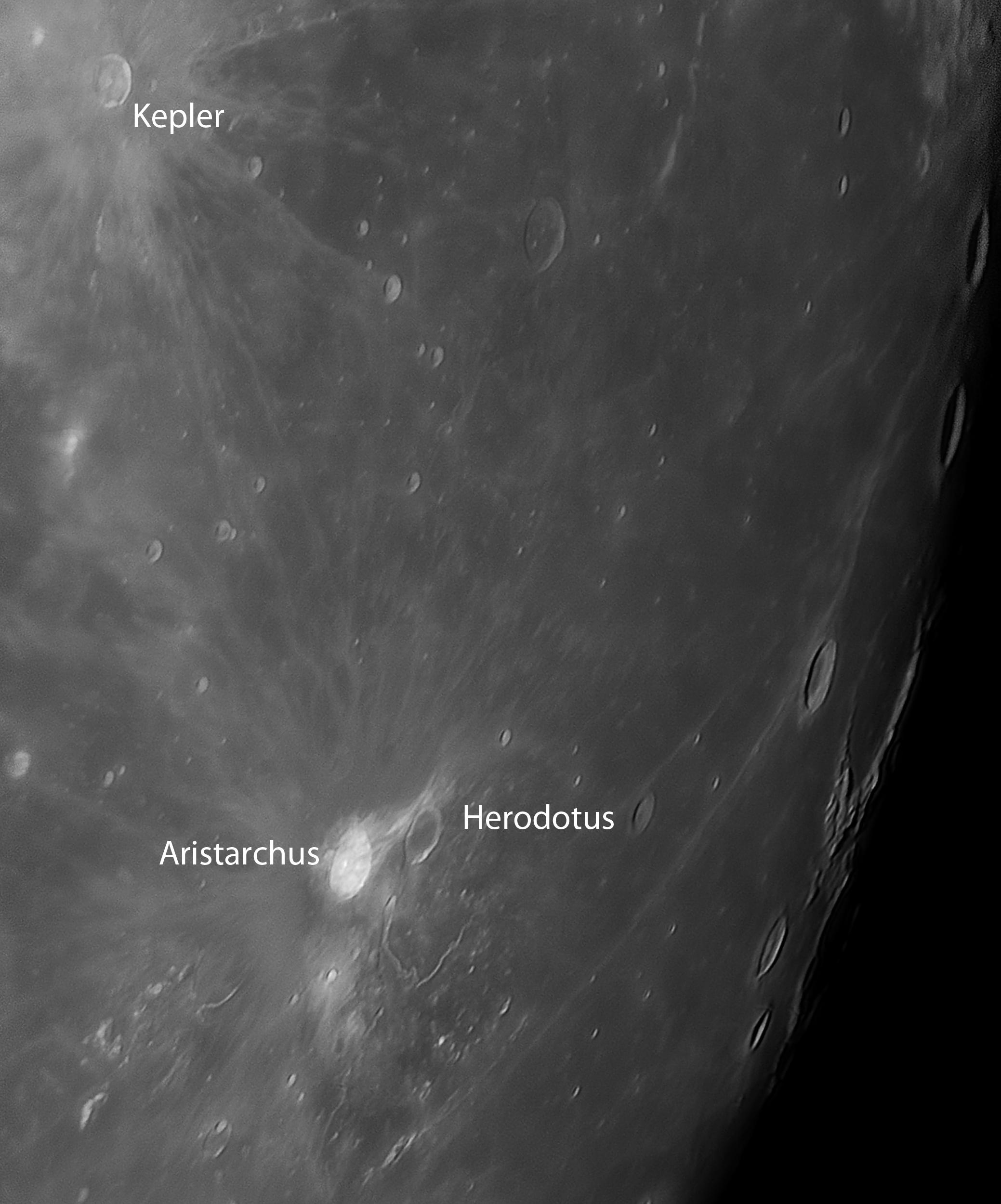 Krater Aristarchus und Herodotus und Kepler hoch namen